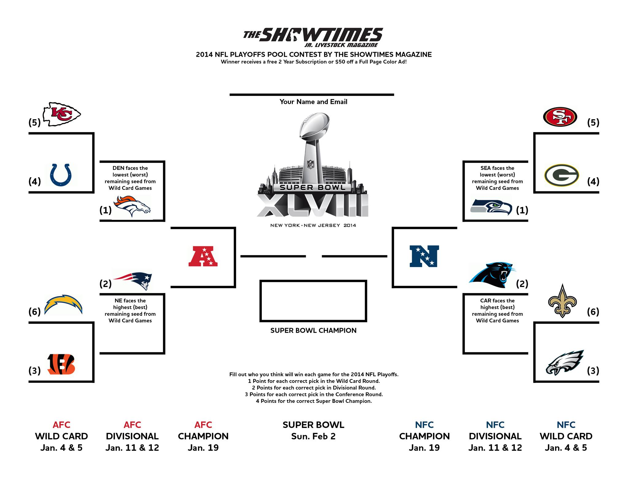 Nfl Playoff Contest From The Showtimes Jr Livestock Magazine Lautner Farms