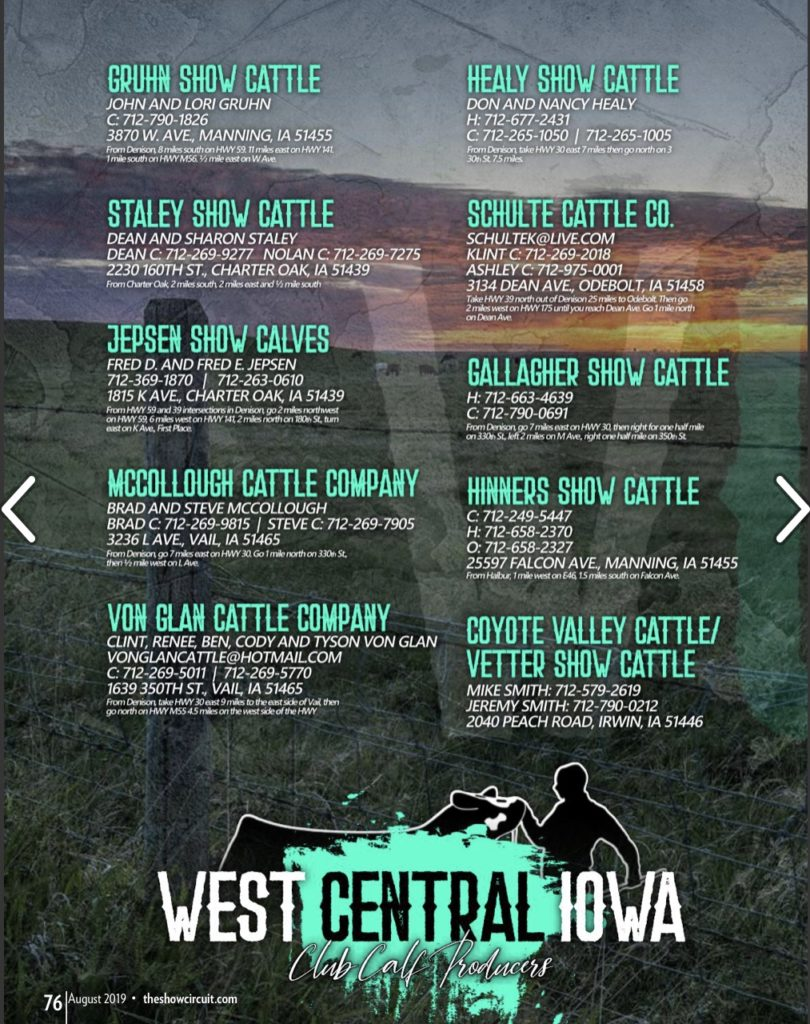 West Central Iowa Club Calf Producers Bid Close 9 2 19