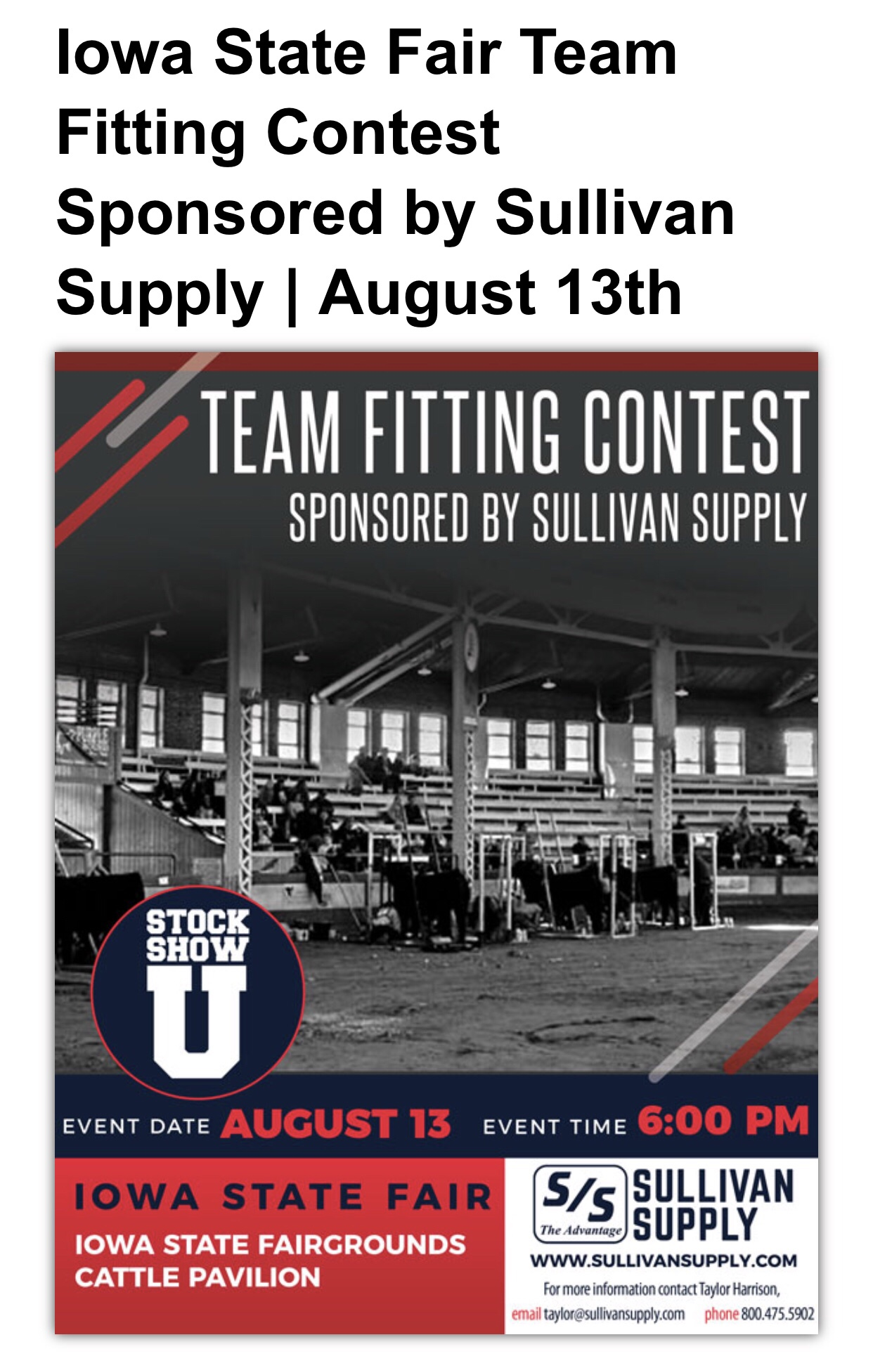 ISF Team Fitting Contest tonight at 6:00! 💪🏼 | Lautner Farms